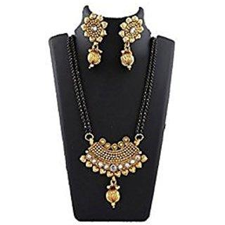 Anuradha Art Golden Finish Wonderful Classy Sparkling Stone Designer Mangalsutra Set For Women