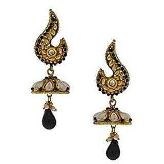Anuradha Art Black Colored Designer Jhumki Earrings For Women