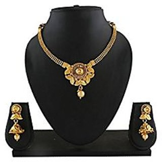 Anuradha Art Adorning This Golden Finish Beautiful Traditional Necklace Set For Women