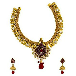 Anuradha Art Charming Traditional Golden Polished Necklace Set For Women