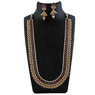 Anuradha Art Golden Colour Styled With Maroon Colour Stone Classy Necklace Set For Women/Girls