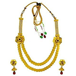 Anuradha Art Golden Finish Classy Designer Styled With South Indian Look Necklace Set For Women/Girls