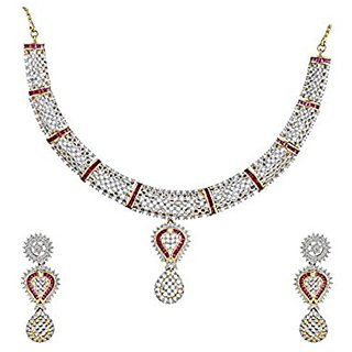 Anuradha Art Pink Colored Classy Necklace Set Styled With American Diamond For Women/Girls