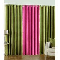 Combo Pack Of 2 Green & 1 Dark Pink Eyelet Door Curtain