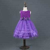 Magideal Rose Flower Bow Princess Dress Pageant Wedding Flower Girl Purple 100 Size
