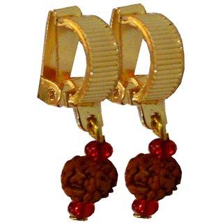 Men Style Rudraksha Shivaji Bali Gold Alloy Non Piercing Hoop Earring For Men And Women