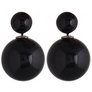 Men Style Elegant Double Sided Two Sided Big Pearl Bubbles Matt Black Alloy piercing Stud Earring