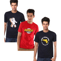 Weardo Men's Multicolor Round Neck T-Shirt (Combo of 3)
