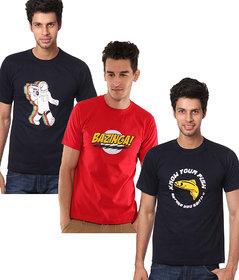 Weardo Men's Multicolor Round Neck T-Shirt (Combo of 3)
