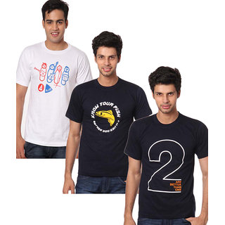 Weardo Combo Of 3 Printed T-Shirts (4 Play, Know Your Fish, 2 Are Better Than 1)