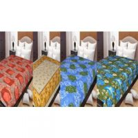 Hard Rock Set Of 4 Single Printed Cotton Bed Sheet