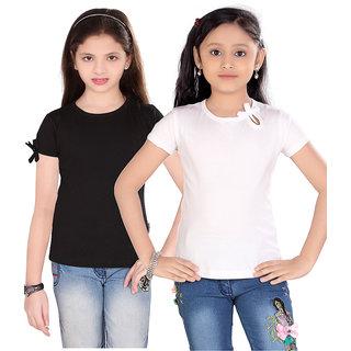 Sinini Cute Girls 2 Pcs Combo Top Bla And White