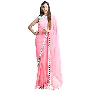 New Designer Saree Pink Printed Georgette Saree