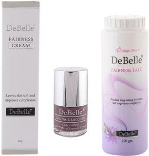 DeBelle Fairness Combo of 80g Fairness Cream  100g Fairness Talc and DeBelle Gel Nail Lacquer Majestique Mauve , 8 ml (Mauve)
