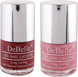 DeBelle Gel Nail Lacquer 8 ml each Combo of 2 (Moulin Rouge  Miss Bliss) (Maroon  Pink)