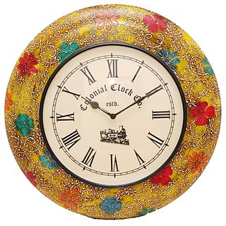 Roopshree Hand Painted Round Wooden Clock