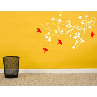 Tree & Flower White Wall Sticker