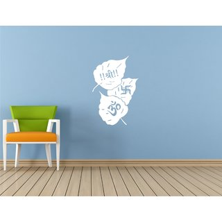 Om Shree And Swastik Paan White Wall Sticker