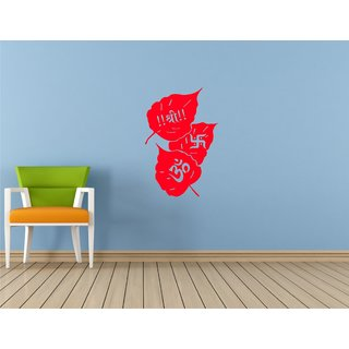 Om Shree And Swastik Paan Red Wall Sticker