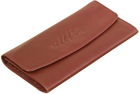 Beautiful ladies leather clutch purse - eZeeBags BY006v1 with card slots, ID window, zippered pockets and more.