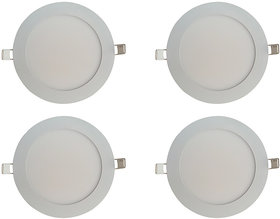 Bene LED 6w Round Slim Panel Ceiling Light, Color of LED White (Pack of 4 Pcs)
