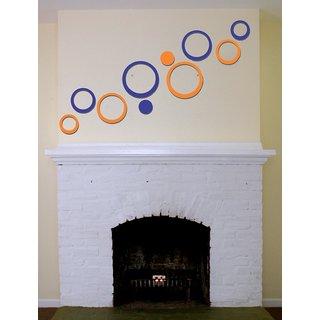 ALFA ARTS BLUE ORANGE  HIGH GLOSSY IMPORTED ACRYLIC 3D WALLART STICKER StickerS CIRCLES 10PCS Medium