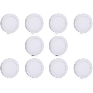 Bene LED 6w Round Surface Panel Ceiling Light, Color of LED Warm White (Yellow) (Pack of 10 Pcs)