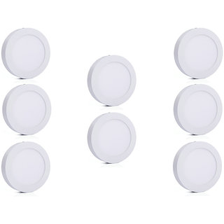 Bene LED 6w Round Surface Panel Ceiling Light, Color of LED Warm White (Yellow) (Pack of 8 Pcs)