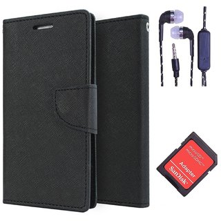 Wallet Flip Cover For Moto E  (Black) With 3.5mm TARANG  Earphones with Mic + microSD Memory Card Adapter(Color May vary)