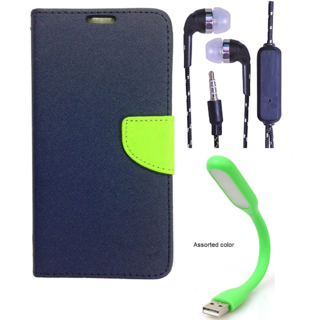Wallet Flip Cover For Samsung Galaxy J5 (2016)  (Blue) With 3.5mm TARANG  Earphones with Mic + Mini USB LED Light(Color May vary)