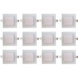 Bene LED 6w Square Slim Panel Ceiling Light, Color of LED White (Pack of 12 Pcs)