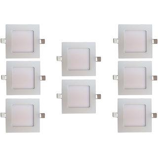 Bene LED 6w Square Slim Panel Ceiling Light, Color of LED White (Pack of 8 Pcs)