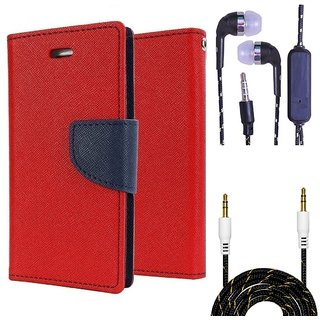 Wallet Flip Cover For Samsung Galaxy A7 (2016)  (Red) With 3.5mm TARANG  Earphones with Mic + Fabric 3.5 mm Aux Cable-1 Meter (Color May vary)