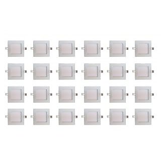 Bene LED 6w Square Slim Panel Ceiling Light, Color of LED Warm White (Yellow) (Pack of 24 Pcs)