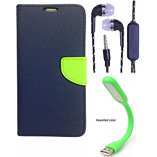 Wallet Flip Cover For Samsung Galaxy S6 Edge   (Blue) With 3.5mm TARANG  Earphones with Mic + Mini USB LED Light(Color May vary)