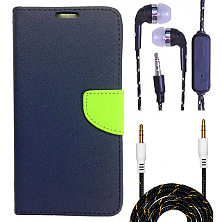 Wallet Flip Cover For HTC Desire 828  (Blue) With 3.5mm TARANG  Earphones with Mic + Fabric 3.5 mm Aux Cable-1 Meter (Color May vary)