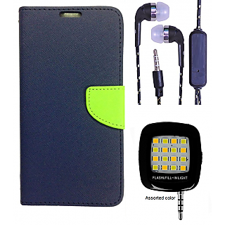 Wallet Flip Cover For Nokia Lumia 520 (Blue) With 3 5mm TARANG Earphones  with Mic + Mini Selfie Flash Light (Color May vary)