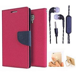 Wallet Flip Cover For Micromax Yu Yureka/Yureka PLUS AQ5510  (Pink) With 3.5mm TARANG Stereo Sound Earphones with Mic + Ring Stand Holder (Color May vary)