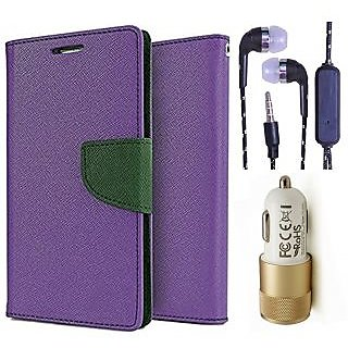 Wallet Flip Cover For Samsung Galaxy J1 Ace  (Purple) With 3.5mm TARANG  Earphones with Mic + 2 Port Metal Car Charger(Color May vary)