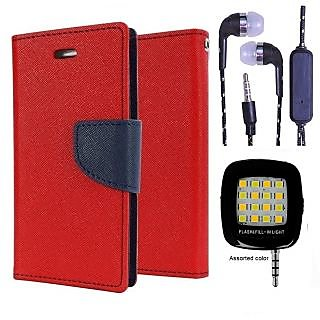 Wallet Flip Cover For Micromax Bolt D320  (Red) With 3.5mm TARANG  Earphones with Mic + Mini Selfie Flash Light (Color May vary)