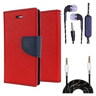 Wallet Flip Cover For Samsung Galaxy J1 (2016)  (Red) With 3.5mm TARANG  Earphones with Mic + Fabric 3.5 mm Aux Cable-1 Meter (Color May vary)