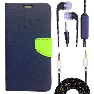 Wallet Flip Cover For Micromax Canvas Pep Q371  (Blue) With 3.5mm TARANG  Earphones with Mic + Fabric 3.5 mm Aux Cable-1 Meter (Color May vary)