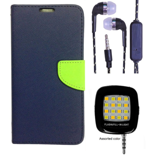 Wallet Flip Cover For Reliance Lyf Flame 3  (Blue) With 3.5mm TARANG  Earphones with Mic + Mini Selfie Flash Light (Color May vary)