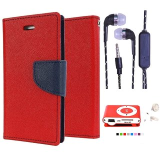 Wallet Flip Cover For Moto G  (Red) With 3.5mm TARANG  Earphones with Mic + Mini Selfie Flash Light (Color May vary)