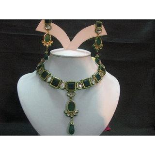 Kundan Meena Necklace In 24k Gold Polish