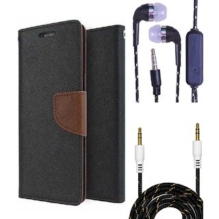 Wallet Flip Cover For Sony Xperia T2  (Brown) With 3.5mm TARANG  Earphones with Mic + Fabric 3.5 mm Aux Cable-1 Meter (Color May vary)