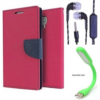 Wallet Flip Cover For HTC One M9 PLUS  (Pink) With 3.5mm TARANG  Earphones with Mic + Mini USB LED Light(Color May vary)