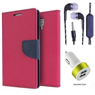 Wallet Flip Cover For Micromax Yu Yureka/Yureka PLUS AQ5510  (Pink) With 3.5mm TARANG  Earphones with Mic + 2 Port USB Car Charger Adapter(Color May vary)