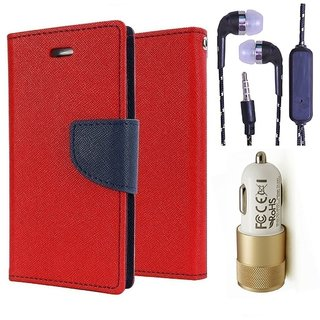 Wallet Flip Cover For Sony Xperia M5 Dual  (Red) With 3.5mm TARANG  Earphones with Mic + 2 Port Metal Car Charger(Color May vary)