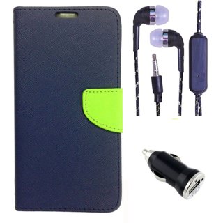 Wallet Flip Cover For Micromax Bolt Q338  (Blue) With 3.5mm TARANG Earphones with Mic + USB Car Charger Adapter (Color May vary)